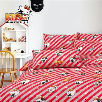 Kiss Hello Kitty 線條篇 床包兩用被組 雙人