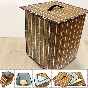 【KOTAS】京都方型碳烤竹面收納箱(附蓋)