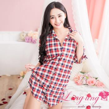 lingling日系 全尺碼-休閒格紋袖蝶結襯衫式睡衣(紅藍格紋)A2505-01