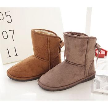 《DOOK》雪靴-蝴蝶結後綁帶內裡絨毛保暖短靴