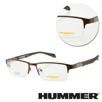 【HUMMER】鈦金屬半框棕色木紋光學眼鏡(H07-30003-C03)