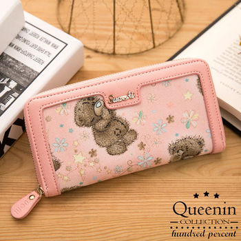 DF Queenin皮夾 - 日系甜蜜可愛小熊單拉鍊長夾