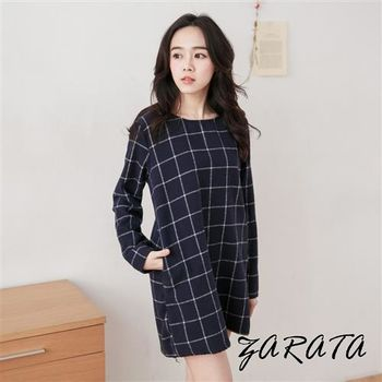 【ZARATA】圓領絨感側口袋格紋後拉鍊洋裝(深藍格)