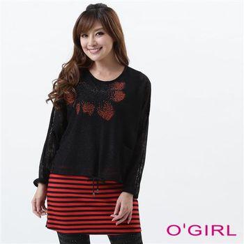 OGIRL氣質鏤空花朵假兩件上衣