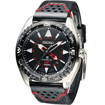 SEIKO PROSPEX GMT 兩地時間人動電能腕錶 5M85-0AE0R SUN049P2 黑