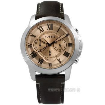 FOSSIL / FS5152 / Grant 紳士復古羅馬三環計時真皮腕錶 玫瑰金x棕 44mm