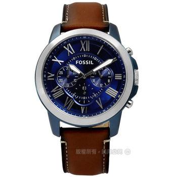 FOSSIL / FS5151 / Grant 紳士復古羅馬三環計時真皮腕錶 深藍x咖啡 44mm
