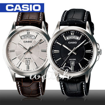 【CASIO 卡西歐】送禮首選-時尚皮革男錶_星期和日期顯示(MTP-1381L)