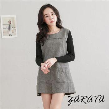 【ZARATA】圓領拼接口袋毛領針織長袖洋裝(灰色)