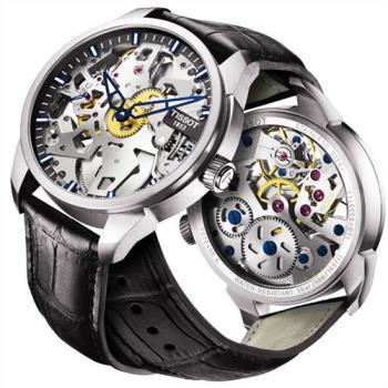 TISSOT T-Classic T-Complication 鏤空手動上鍊腕錶-43mm T0704051641100