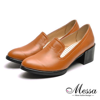 【Messa米莎專櫃女鞋】MIT文青女孩復古內真皮低跟樂福鞋-棕色