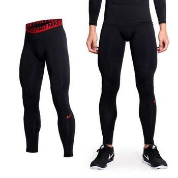 【NIKE】PRO COMBAT 男彈力緊身長褲-緊身褲 慢跑 路跑 重訓 黑紅  吸濕排汗
