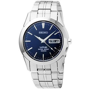 SEIKO精工藍寶石水晶玻璃時尚男錶-深藍 / SGG717P1