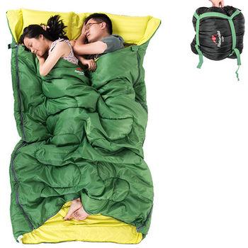 PUSH! 登山戶外用品 加寬加厚保暖雙人帶枕頭四季睡袋P85-1綠色