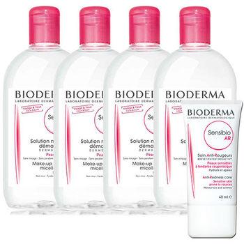Bioderma貝德瑪 舒妍高效潔膚液(500ml)4入特惠組(加贈AR修護乳霜40ml*1)