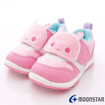 日本Carrot機能童鞋-刷毛可愛粉兔機能款(寶寶段)-KB3814粉-(13.5cm-14.5cm)