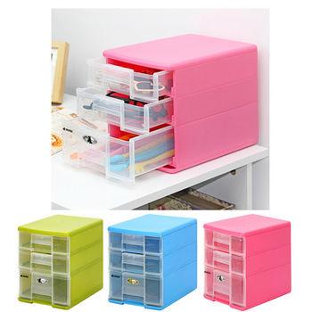 日本MAKINOU 漾彩1大2小抽屜式桌上收納櫃(4入)