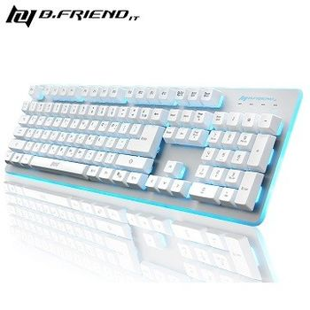 【B.FRIEND 】發光電競遊戲鍵盤 GK3-WH 白色/黑色
