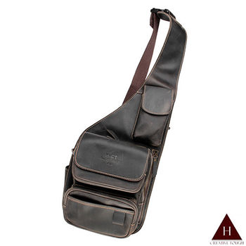 【H-CT】瘋馬皮功能型設計款真皮胸包後背包(UM1522-Z)