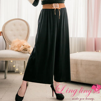 lingling中大尺碼 素面拼接編織腰帶寬褲裙(俐落黑)A2691