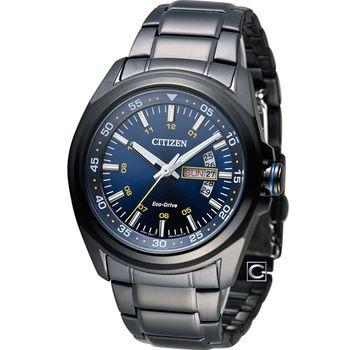 CITIZEN 星辰 光動能型男時尚腕錶 AW0024-58L 黑x藍