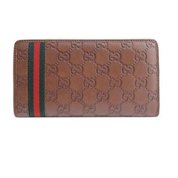 GUCCI Guccissima紅綠織帶皮革拉鍊長夾(深棕)