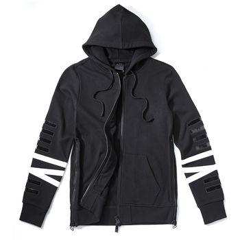 NONAGON NN9N logo厚磅棉長袖帽T外套-韓國明星款-黑