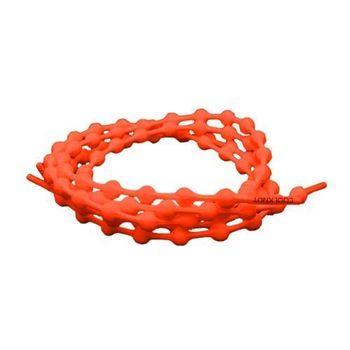 【COOLKNOT】免綁彈性豆豆鞋帶50CM-鐵人 路跑 馬拉松 懶人鞋帶 螢光橘
