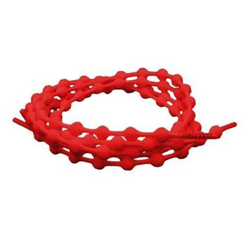 【COOLKNOT】免綁彈性豆豆鞋帶50CM-鐵人 路跑 馬拉松 懶人鞋帶 紅