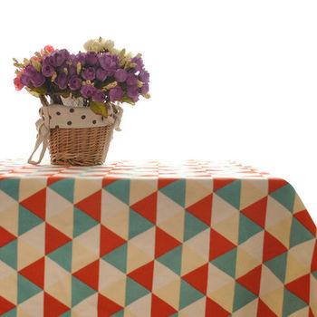 簡約時尚黃紅藍三角格子田園桌布