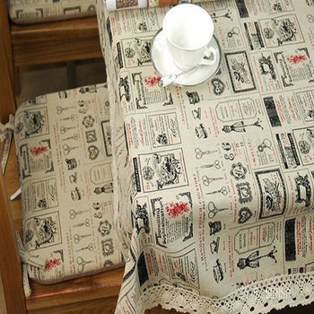 棉麻美式鄉村印花蕾絲花邊款茶几餐桌布