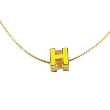 HERMES 時尚配件經典H LOGO銀飾項鍊.金/黃