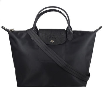 法國Longchamp Le Pliage Neo 折疊厚尼龍短把兩用包.黑 大 #1515