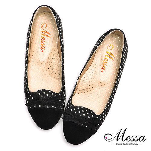 【Messa米莎專櫃女鞋】MIT復古赫本風蝴蝶結內真皮娃娃鞋-黑色