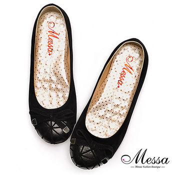 【Messa米莎專櫃女鞋】MIT奢華女孩大人系細絨內真皮娃娃鞋-黑色