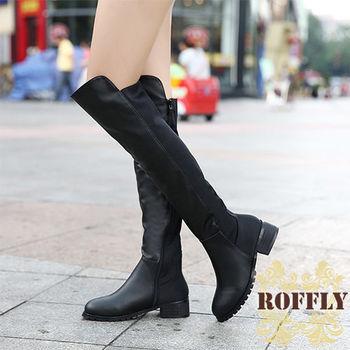 【ROFFLY蘿芙莉】2H15B18-時尚潮流PU皮拼接絨面過膝粗跟長靴-黑