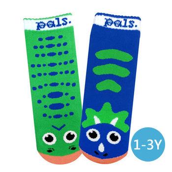 美國Pals Socks好夥伴寶寶襪-暴龍三角龍(1-3Y)