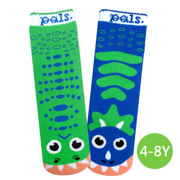 美國Pals Socks好夥伴兒童襪-暴龍三角龍(4-8Y)