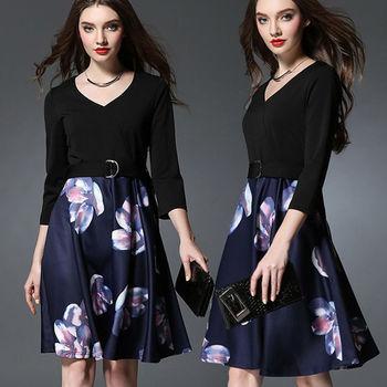 【麗質達人中大碼】印花連身洋裝(XL-5XL)