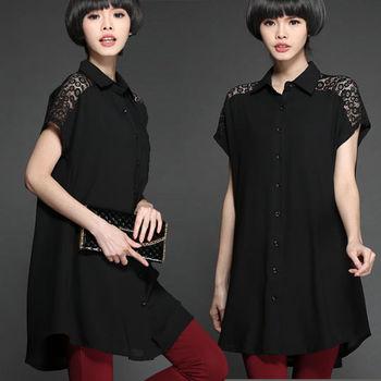 【麗質達人中大碼】蕾絲拼接上衣(XL-5XL)