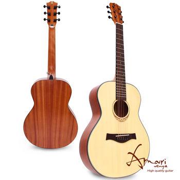 Amari 36吋雲杉木面板旅行吉他-原木色+豪華六配件