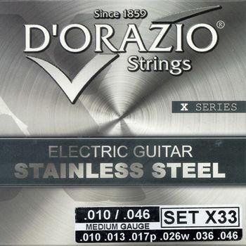 義大利手工製 DORAZIO 不鏽鋼材質 電吉他弦(No.X33)