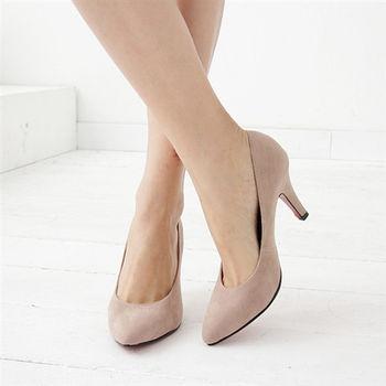 《DOOK》巴黎時尚絨布紅底高跟鞋-可可色
