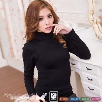 【伊黛爾】保暖衣 莫代爾高領無縫彈性舒適貼身保暖衣 FREE(黑色)