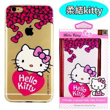 【Hello Kitty】iPhone 6 Plus/6s Plus 彩繪透明保護軟套-柔結kitty