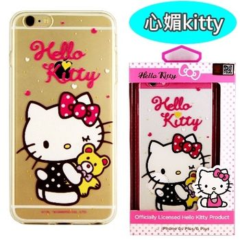 【Hello Kitty】iPhone 6 Plus/6s Plus 彩繪透明保護軟套-心媚kitty