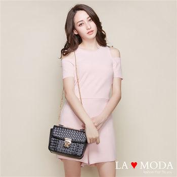 La Moda 名流經典設計系列・藤編金鏈配件隨身包(黑)