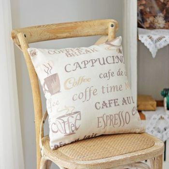 【協貿】百搭簡約現代咖啡杯英文印花沙發方形抱枕含芯