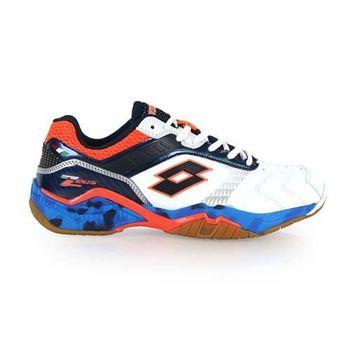 【LOTTO】男羽球鞋-運動 防滑 排球 白橘藍