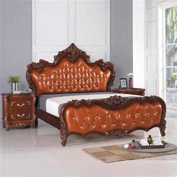 【時尚屋】[G16]拉緹雅6尺法式胡桃加大雙人床G16-067-2不含床頭櫃-床墊